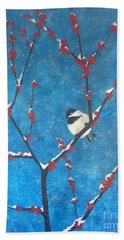 Bath Towel featuring the painting Chickadee Bird by Denise Tomasura
