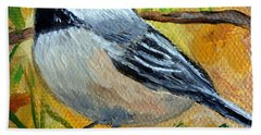 Chickadee In The Pines - Birds Bath Towel by Julie Brugh Riffey