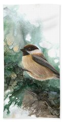 Hand Towel featuring the painting Chickadee by Sherry Shipley