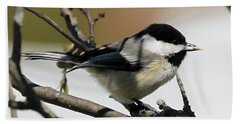 Chickadee With A Sunflower Seed Bath Towel