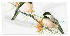 Chickadees And Orange Flowers Hand Towel