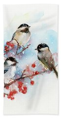 Chickadees With Berries Hand Towel