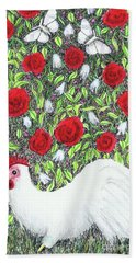 Chicken And Butterflies In The Flowers Bath Towel