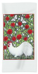 Chicken And Butterflies In The Flowers Hand Towel
