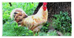 Bath Towel featuring the mixed media Chicken Inthe Woods by Charles Shoup