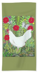 Chicken With Millefleurs And Butterflies  Hand Towel