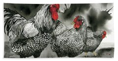 Chickens In Black And Whiite Bath Towel