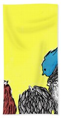 Bath Towel featuring the painting Chickens One by Jason Tricktop Matthews