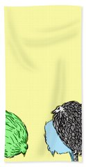 Bath Towel featuring the painting Chickens Three by Jason Tricktop Matthews