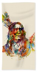 Chief Mojo Watercolor Hand Towel by Marian Voicu