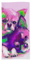 Hand Towel featuring the digital art Chihuahua Love by Jane Schnetlage