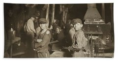 Child Laborers In Glassworks. Indiana, 1908 Hand Towel