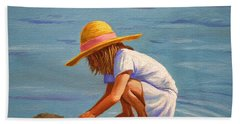 Child Playing In The Sand Hand Towel
