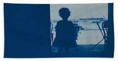 Child Standing In The Doorway Of A Seashore House. Hand Towel