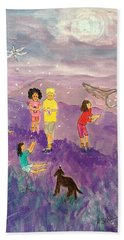 Children Catching Fireflies Hand Towel