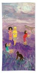 Children Catching Fireflies Bath Towel