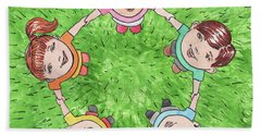 Children In The Circle Hand Towel