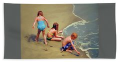 Childrens Shell Hunting At The Beach Hand Towel