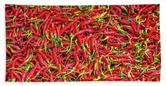 Bath Towel featuring the photograph Chillies by Charuhas Images