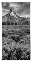 Chimney Rock In Black And White Hand Towel