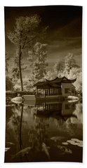 Hand Towel featuring the photograph Chinese Botanical Garden In California With Koi Fish In Sepia Tone by Randall Nyhof