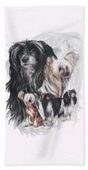 Chinese Crested And Powderpuff W/ghost Bath Towel by Barbara Keith