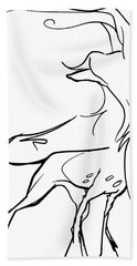 Chinese Crested Gesture Sketch Bath Towel