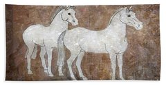 Bath Towel featuring the drawing Chinese Horses by Nareeta Martin