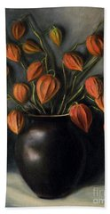 Hand Towel featuring the painting Chinese Lanterns by Randol Burns