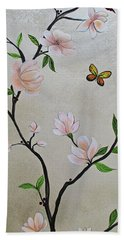 Bath Towel featuring the painting Chinoiserie - Magnolias And Birds #3 by Shadia Derbyshire