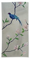 Bath Towel featuring the painting Chinoiserie - Magnolias And Birds #4 by Shadia Derbyshire
