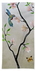 Bath Towel featuring the painting Chinoiserie - Magnolias And Birds #5 by Shadia Derbyshire