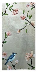 Bath Towel featuring the painting Chinoiserie - Magnolias And Birds by Shadia Derbyshire