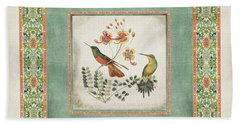 Chinoiserie Vintage Hummingbirds N Flowers 1 Bath Towel by Audrey Jeanne Roberts