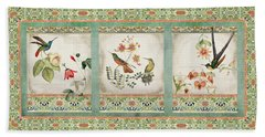 Triptych - Chinoiserie Vintage Hummingbirds N Flowers Hand Towel