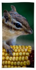 Chipmunk Goes Wild For Corn Bath Towel