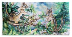 Chipmunk Hand Towel by Linda Shackelford