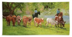Chisholm Trail Texas Longhorn Cattle Drive Oil Painting By Kmcelwaine Hand Towel