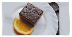 Chocolate And Orange Hand Towel by Marija Djedovic