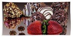 Chocolate And Strawberries Bath Towel by Shirley Mangini