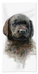 Chocolate Lab Puppy Hand Towel