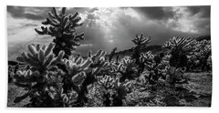 Bath Towel featuring the photograph Cholla Cactus Garden Bathed In Sunlight In Black And White by Randall Nyhof