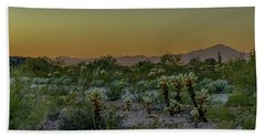 Cholla Desert Sunset Hand Towel