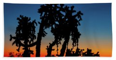 Hand Towel featuring the photograph Cholla Silhouettes by Rick Furmanek