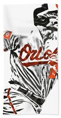 Hand Towel featuring the mixed media Chris Davis Baltimore Orioles Pixel Art by Joe Hamilton