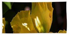 Bath Towel featuring the digital art Yellow Iris by Stuart Turnbull