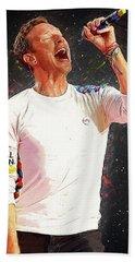 Chris Martin - Coldplay Hand Towel by Semih Yurdabak