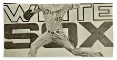 Hand Towel featuring the drawing Chris Sale by Melissa Goodrich