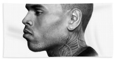 Chris Brown Drawing By Sofia Furniel Hand Towel