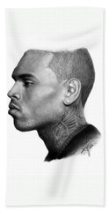 Chris Brown Drawing By Sofia Furniel Bath Towel